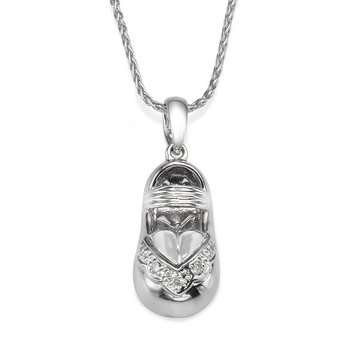 14K White Gold Baby Shoe Pendant