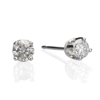 14K White Gold 1.07ct Round Clarity Enhanced Diamond Studs