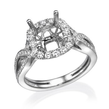 18K White Gold Halo .54Ctw Diamond Mounting