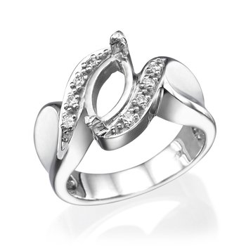 14K White Gold Vintage Twisted Marquise Mounting