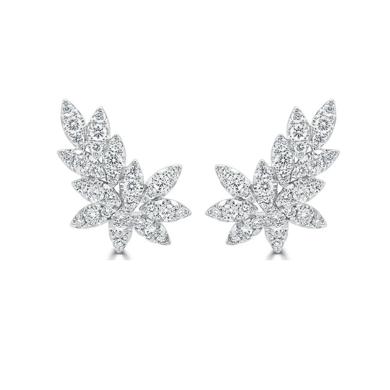 18K Gold Diamond Leaf Earrings