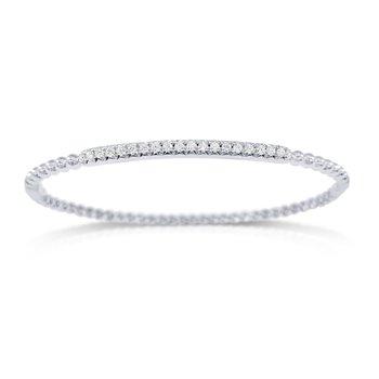 14K Gold Diamond Beaded Bangle Bracelet