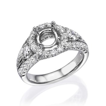 Platinum Halo Diamond Engagement Mounting