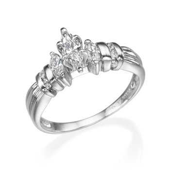 Platinum Classic Marquise Three-Stone Engagement Ring