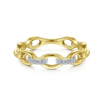 14K Yellow Gold Diamond Link Fashion Ring