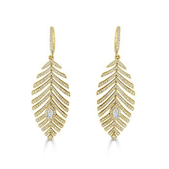 18K Gold Diamond Feather Earring