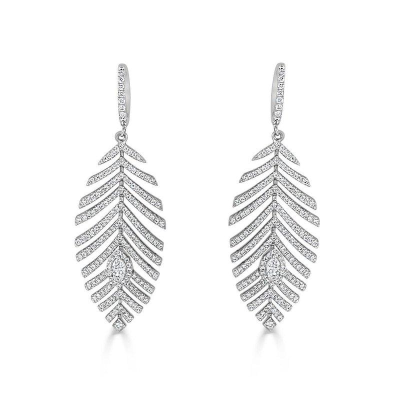 18K Gold Diamond Feather Earring
