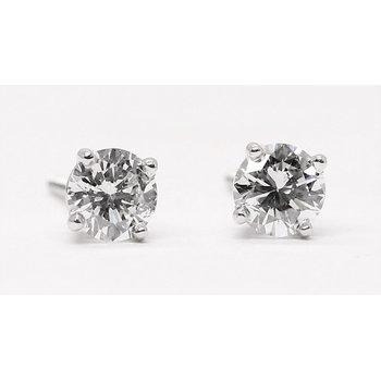 14K White Gold .81ctw Round Diamond Studs