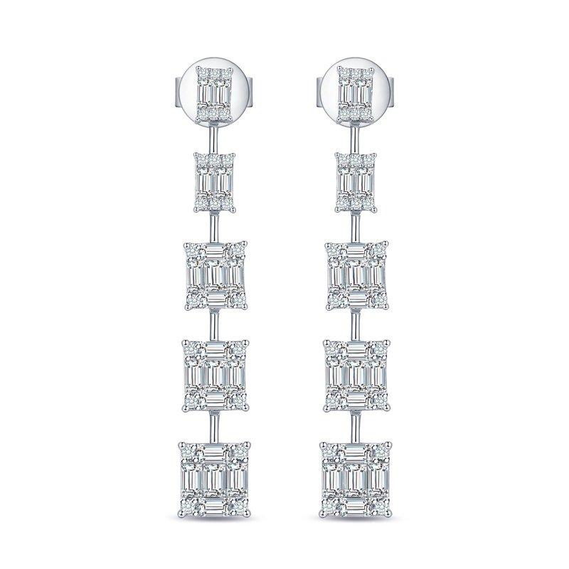 14K White Gold & Baguette Diamond Drop Earrings