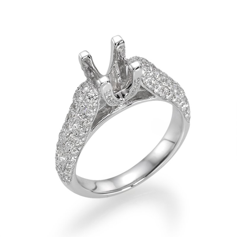 Pave Style 18K White Gold Engagement Ring Mounting