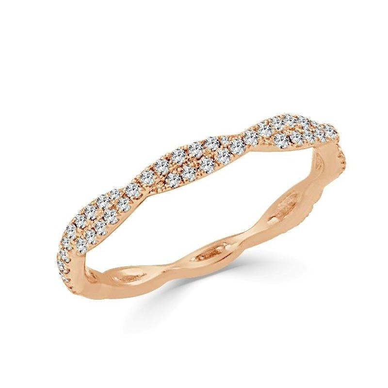 14K Gold Petite Twist Diamond Band