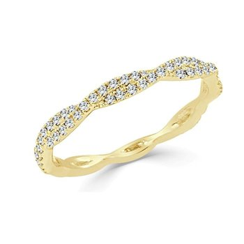 14K Gold Petite Twist Diamond Band