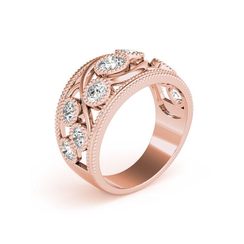 Milgrain and Twisted Gold Diamond Fashion Ring