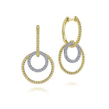 14K White-Yellow Gold Bujukan Ball and Diamond Open Circle Huggie Drop Earrings