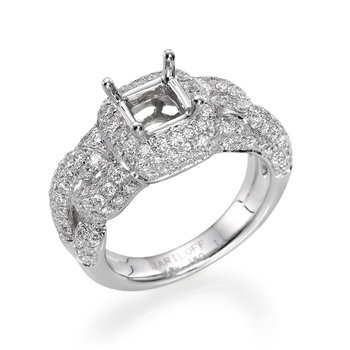 18K White Gold Pave Style Ring Mounting With Round Diamonds