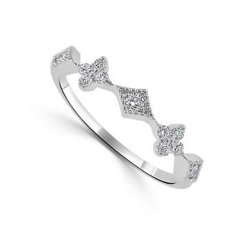 14K White Gold Vintage Diamond Ring