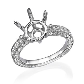 18K White Gold .75Ctw Round Diamond Engagement Ring Mounting