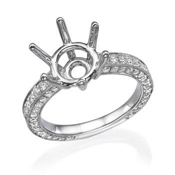 18K White Gold .75Ctw Round Diamond Engagement Ring Mounting
