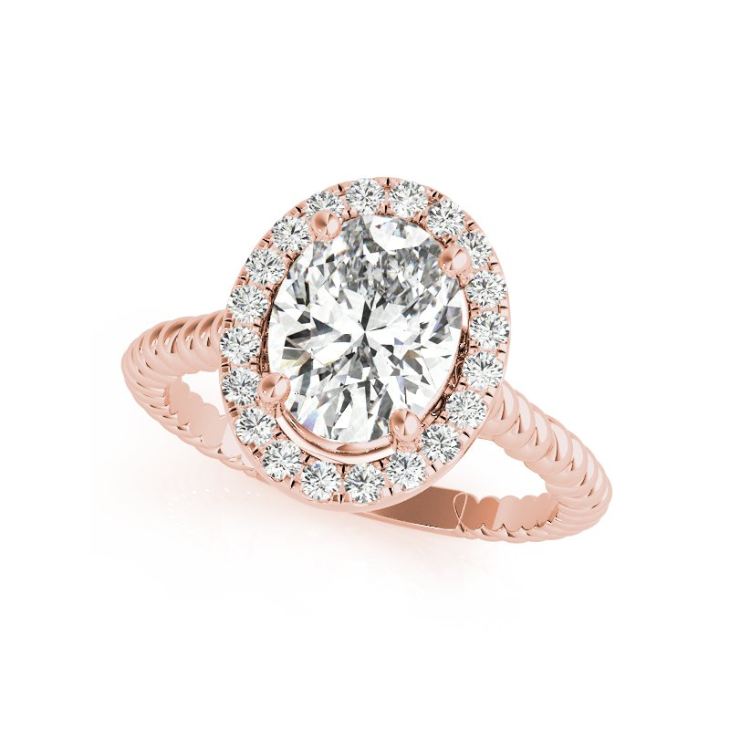 Twisted Rope Oval Halo Engagement Ring Mounting