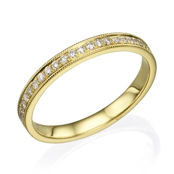 14K Yellow Gold .32Ctw Milgrain Wedding Band
