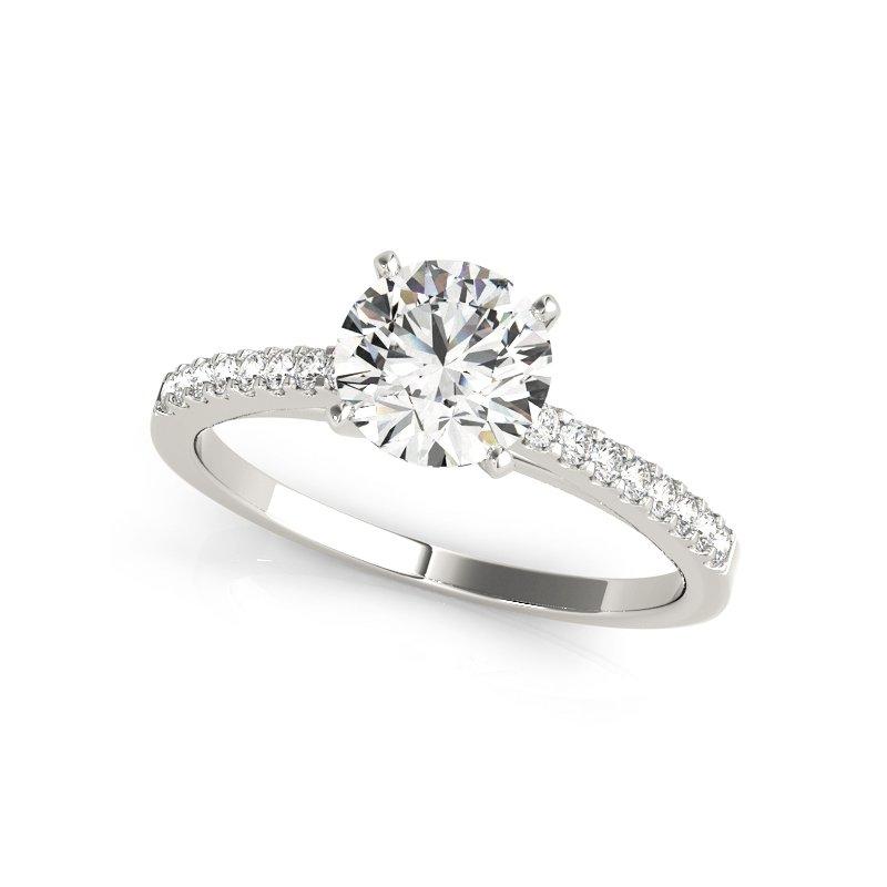 14K White Gold .16 Ctw Engagement Ring Mounting