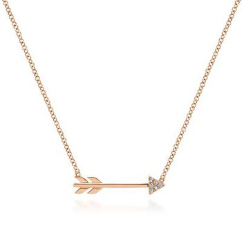 14K Rose Gold Arrow Diamond Pendant
