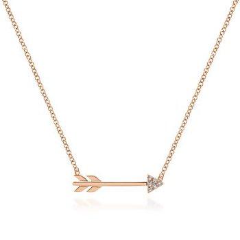 14K Rose Gold Arrow Diamond Pendant