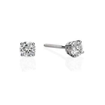 14K White Gold .83ctw Round Diamond Stud