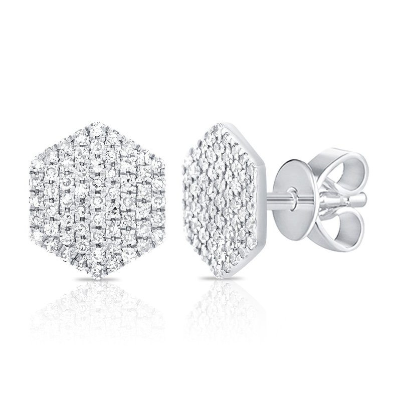 14K Gold Diamond Disc Earrings