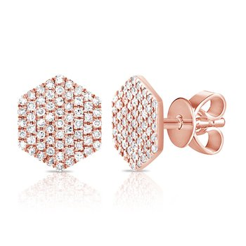 14K Gold Diamond Disc Earrings