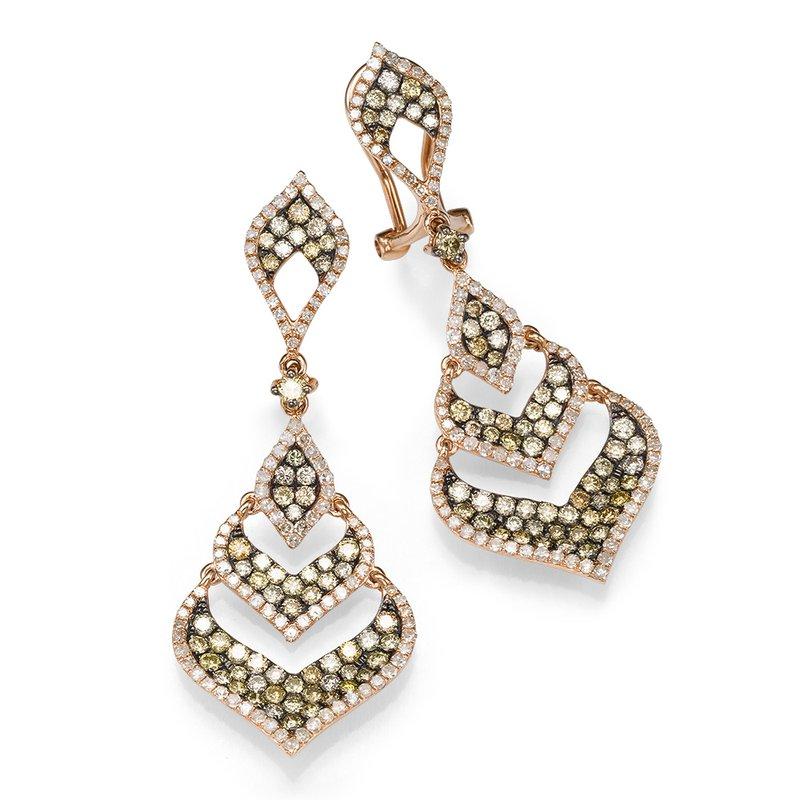 14K Rose Gold Chandelier Colored Diamond Earrings