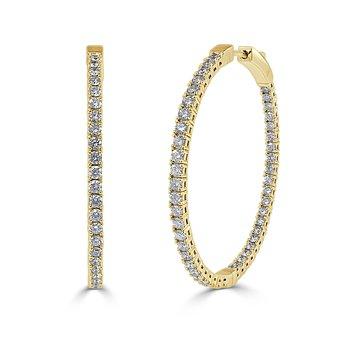 14K Gold & Diamond Flexible Hoops 1.5''