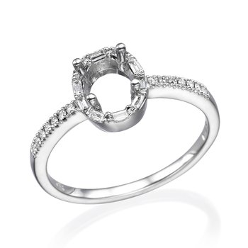 Baguette And Round Diamond Halo Engagement Mounting