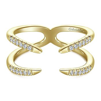 14K Yellow Gold Double Band Diamond Cuff Ring