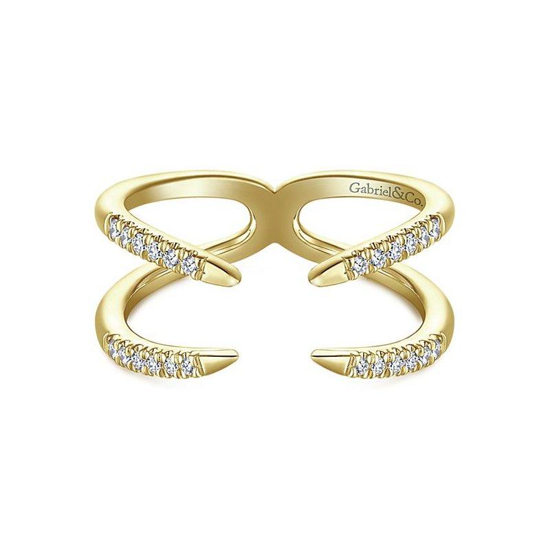 14K Yellow Gold Double Band Diamond Cuff Ring