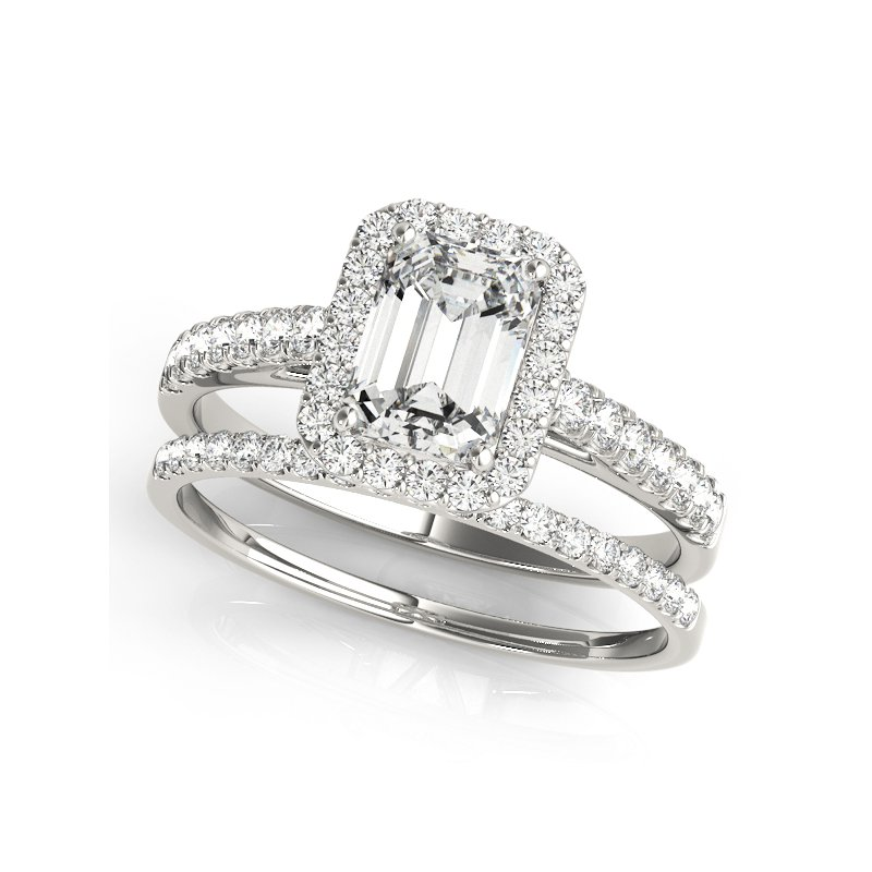 Cathedral Emerald Cut Halo Engagement Ring Mounting