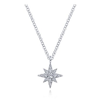 14K White Gold Star Burst Pendant