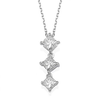 18K White Gold Kite Set Princess Three-Stone Pendant