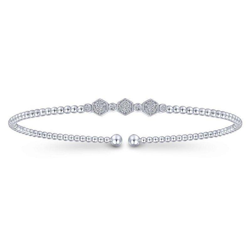 14K White Gold Diamond Bangle Bracelet