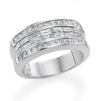 18K White Gold Multi-Row Diamond Fashion Ring