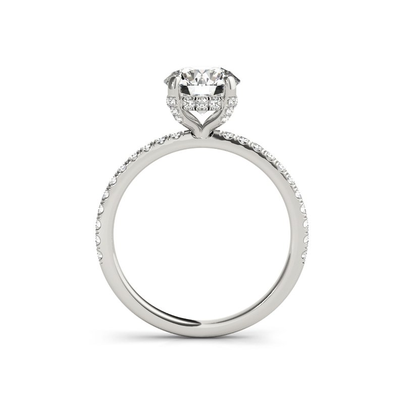 Delicate Hidden Halo Prong Set Engagement Ring Mounting
