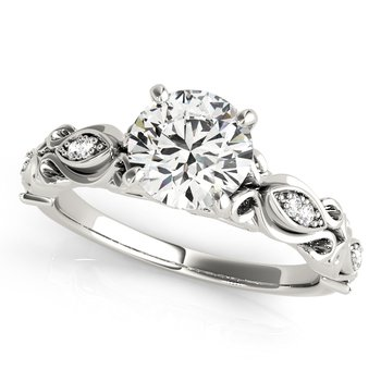 Vintage Inspired Engraved and Diamond Engagement Ring Mounting