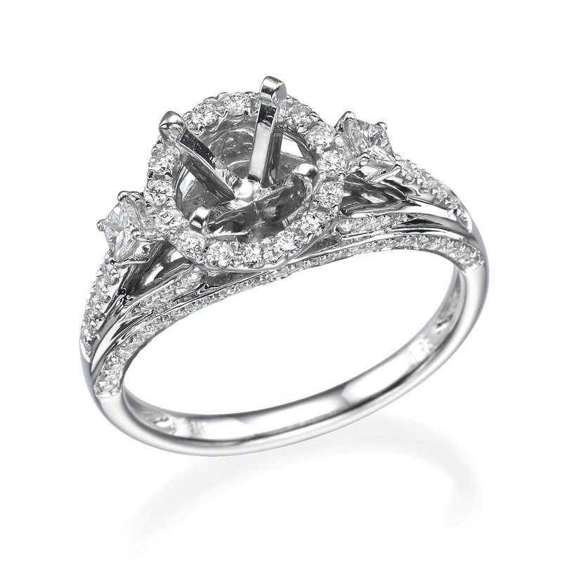 14K White Gold Three-Stone Vintage Halo Engagement Ring Mounting