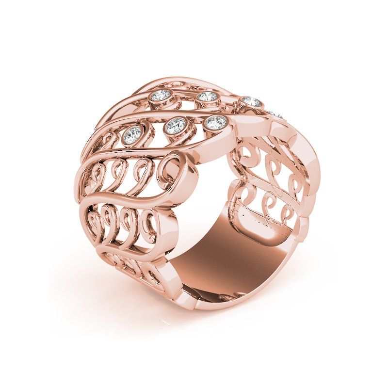 Modern Twisted Cluster Diamond Fashion Ring
