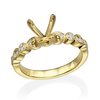 18K Yellow Gold Milgrain Diamond Engagement Ring Mounting