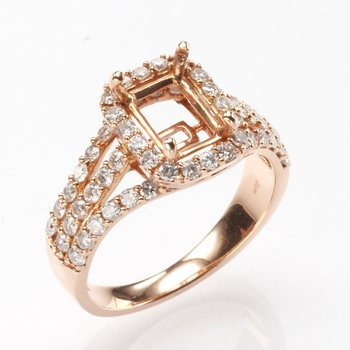 14K Rose Gold Split Band Vintage Halo Mounting