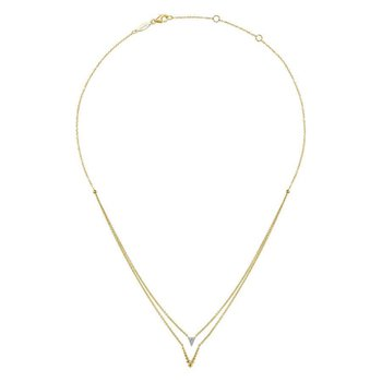 14K Yellow Gold Layered V Necklace