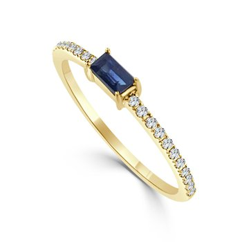14K Gold Sapphire And Diamond Band