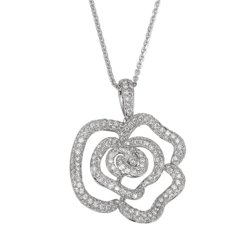 Flower Diamond Encrusted Fashion Pendant