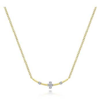 14K Yellow Gold Petite Diamond Bar Necklace
